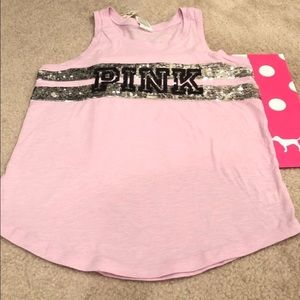 NWT Pink VS blinged out pink tank top size Sm/Med